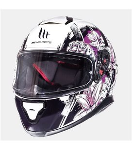 CASCO MT THUNDER 3 SV WILD GARDEN BLANCO PERLADO/PURPURA BRILLO