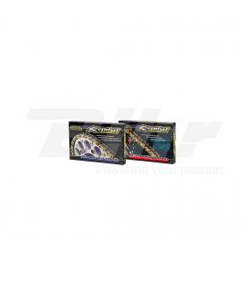 CADENA RENTHAL CON RETENES 520R3-3 CON 110 ESLABONES NEGRO/ORO