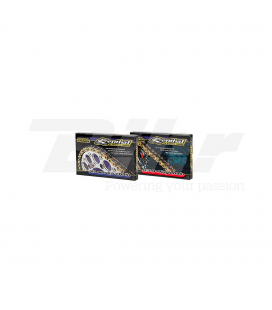 CADENA RENTHAL CON RETENES 520R3-3 CON 114 ESLABONES NEGRO/ORO