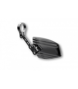 HIGHSIDER END MIRROR WAVE, ALUMINIUM BLACK ANODISED WITH SILVER-COLOURED ADJUSTER