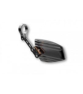 HIGHSIDER END MIRROR WAVE, ALUMINIUM BLACK ANODIZED WITH GOLD-COLOURED ADJUSTER