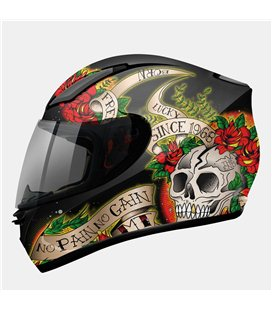 CASCO MT REVENGE SKULL & ROSE NEGRO/ROJO BRILLO