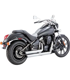 KAWASAKI VULCAN CLASSIC LIGHT TOURER 2011 - 2014 EXHAUST SYSTEM TWIN SLASH STAGGERED CHROME