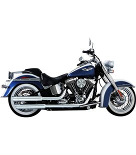 HARLEY DAVIDSON SOFTAIL DELUXE 2012 - 2015 MUFFLER EC TWIN SLASH SLIP-ONS CHROME
